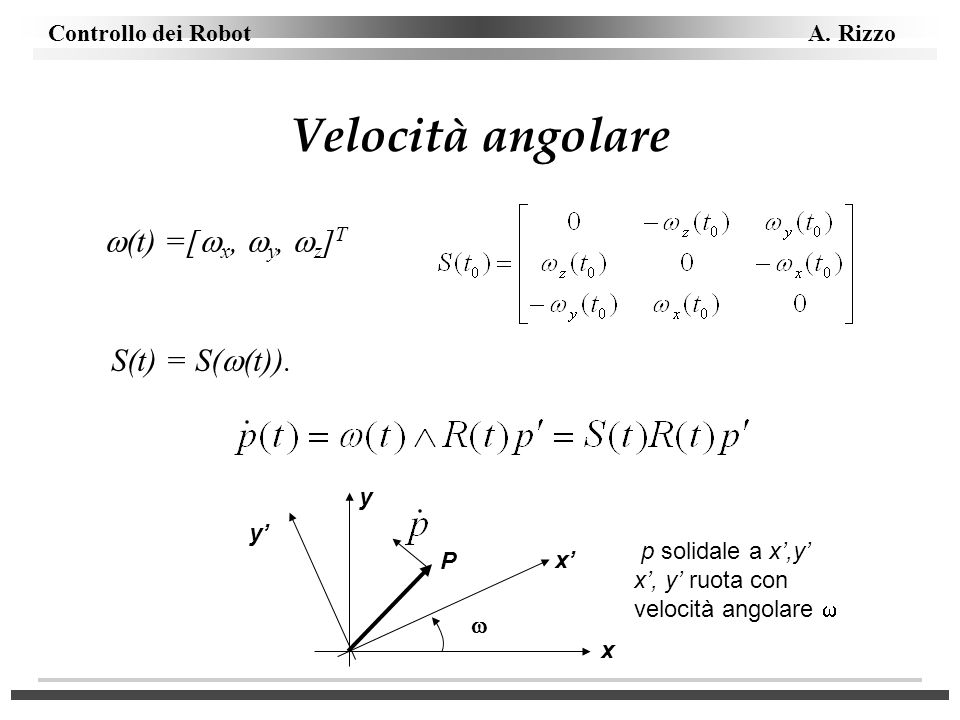 Velocità angolare (t) =[x, y, z]T S(t) = S((t)). y y'